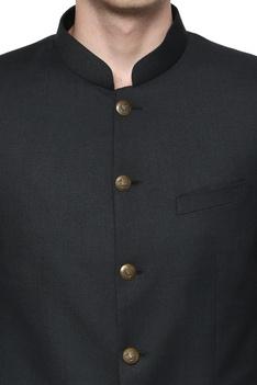 Basil green bandhgala suit