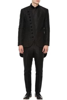 Black angrakha bandhgala suit