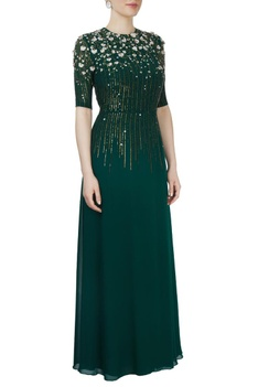 Emerald embroidered gown
