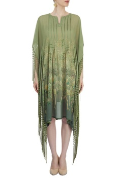 Green printed poncho with fringes
