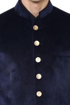 Blue velvet bandhgala