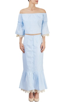 Powder blue skirt set with lace trimmings