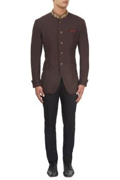 Brown embroidered bandhgala jacket