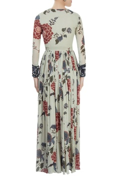 Greyish blue floral print dress