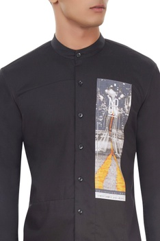 Black shirt with digital print details