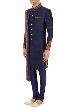 Navy blue sherwani set with embroidery