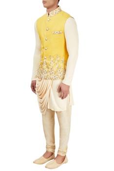 Beige kurta set with embroidered jacket