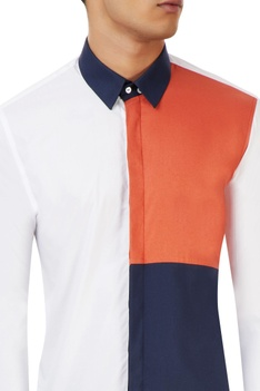 White shirt with orange and blue panels