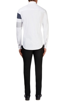 White shirt with grey detailing