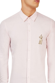 Pink shirt with embroidery