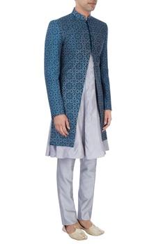Teal blue & grey sherwani set