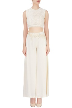 White palazzo with cropped top & cape