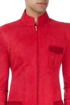Red scuba style bandhgala