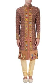 Red Baraat embroidered sherwani