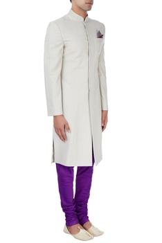 Beige & purple sherwani set
