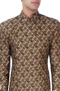 Gold & black floral bandhgala