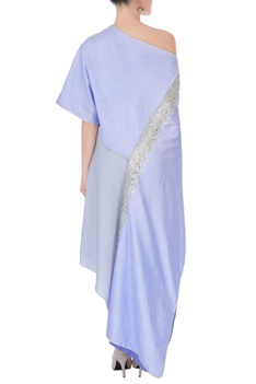Blue off-shoulder top with skirt.