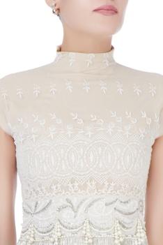 Beige high neck blouse