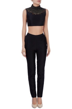 Black embellished crop top & pants
