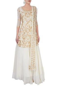 Off white embellished backless lehenga set