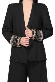 Black blazer with chained cuffs