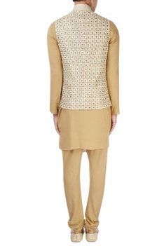 Beige machine embroidered nehru jacket set