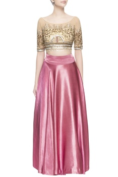 Pink embellished skirt set