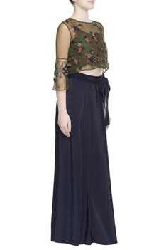 Green mesh top & pleated skirt with attached pant