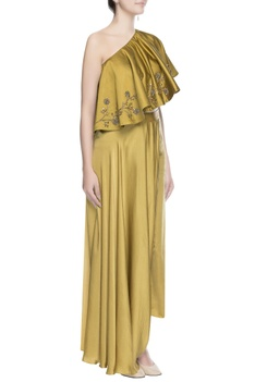 Metallic yellow embellished cape blouse