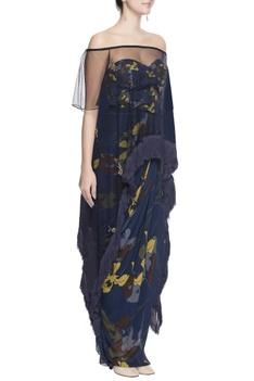 Blue floral printed skirt set