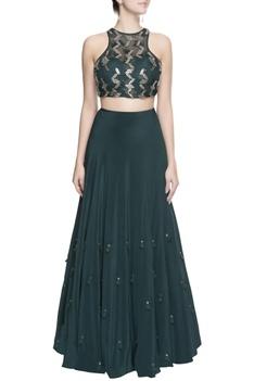 Green silver sequin blouse & skirt