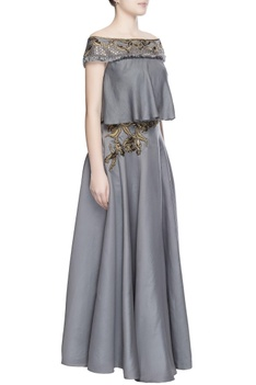 Pewter grey embroidered skirt set