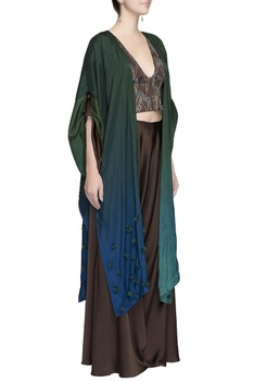 Blue and green ombre cape jacket