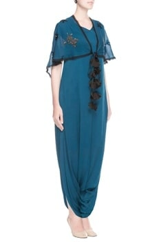 Teal blue jumpsuit with scarf