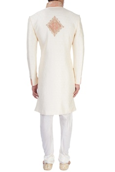 White sherwani with zari embroidery