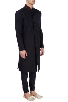 Black thread work embroidered sherwani