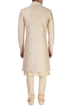Beige sherwani with gold zari embroidery