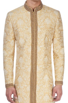 Light gold embroidered sherwani