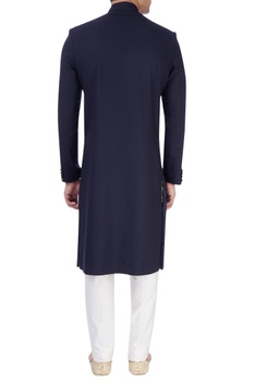 Navy blue sherwani with embroidered patch