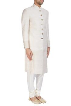 Ivory textured sherwani