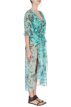 Green abstract printed kaftan with slits