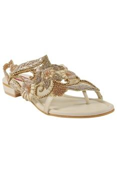 Beige bead & sequin detailed sandals