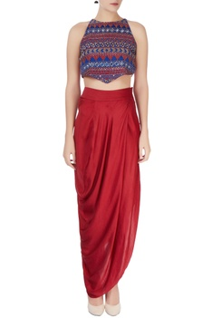 Multicolored crop top & maxi skirt