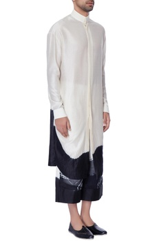 White & black chanderi tie & dye long kurta