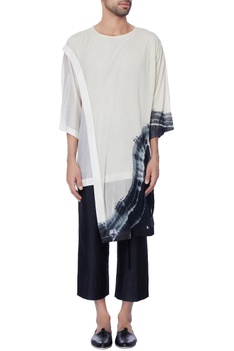 White & black tie & dye short sleeve kurta