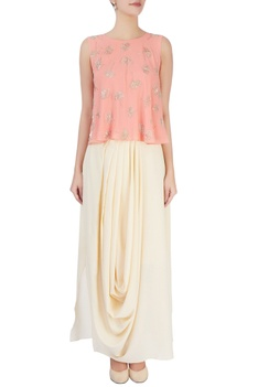 Peach embellished top & draped skirt