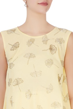 Light yellow embellished top & trousers