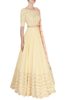 Yellow coin sequin lehenga