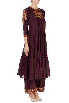 Purple kurta in aari embroidery set