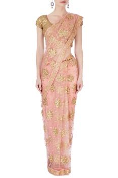 Pink & gold sequin sari & blouse